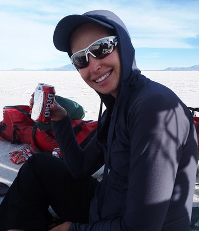 Bolivia - Jo enjoying a birthday beverage on the Salar de Coipasa