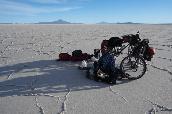 Bolivia - We had a picnic on the salt, waiting for nightfall before setting up our tent