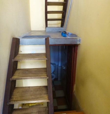 Bolivia - The narrow stairs to our room at Hostal Residencia