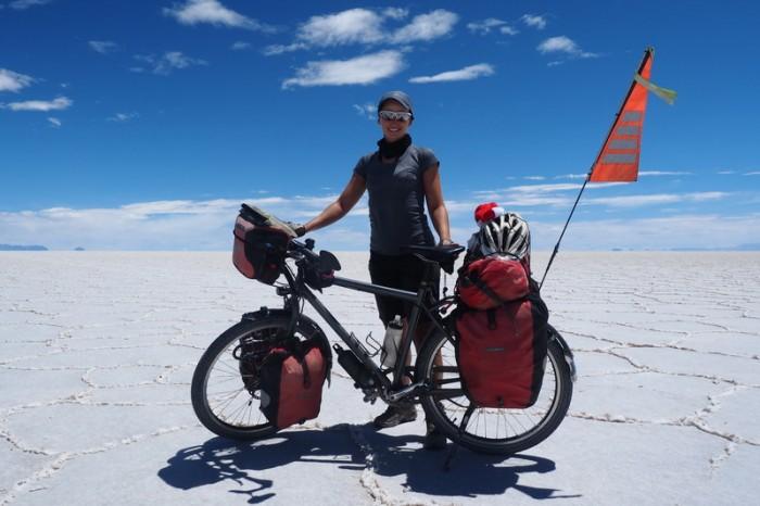 Bolivia - Jo on Salar de Uyuni