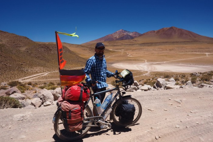 Bolivia - Day 2 of the Laguna Route: The 3km up to the pass was very sandy, rocky and technical. We pushed most of the way