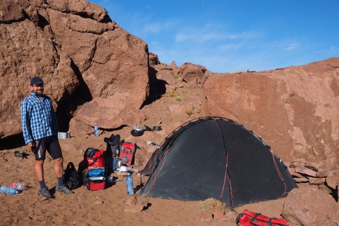 Bolivia - Day 3 of the Laguna Route: Our campsite at the rocky outcrop