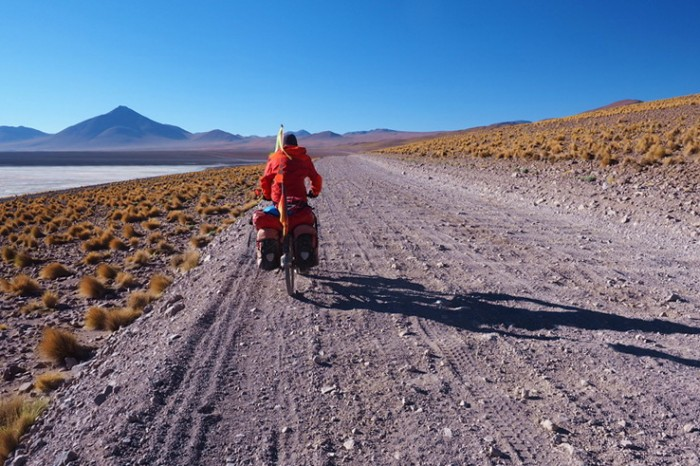 Bolivia - Day 6 of the Laguna Route: Cycling along Laguna Colorado ... the road was pretty bad