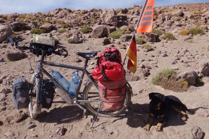 Bolivia - Day 7 of the Laguna Route: This playful dog entertained us while we packed up camp