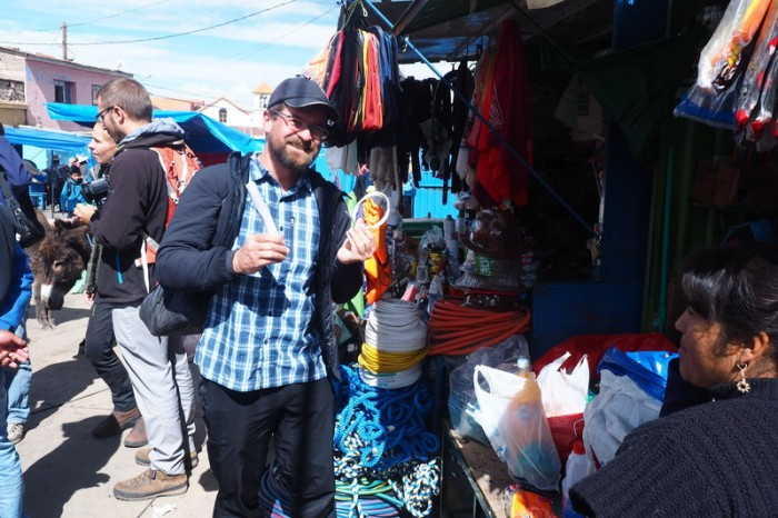 Bolivia - David was excited to find dynamite at the Miners' Market, Potosi