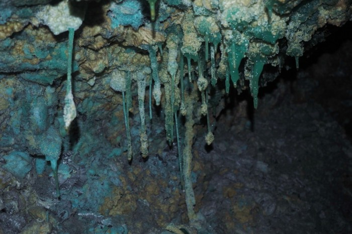 Bolivia - The walls of the mine were quite beautiful, covered in turquoise and green stalactites