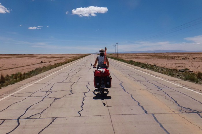 Bolivia - Enjoying some flat roads near Oruro