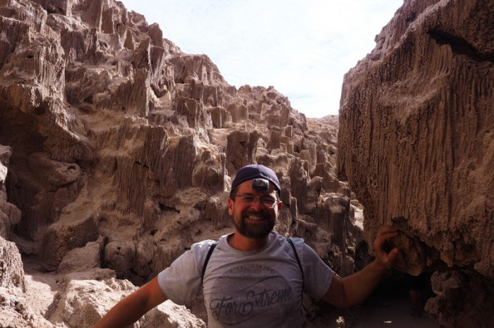 Chile - David ready for some cave exploring in a tunnel made of salt, Valle de la Luna, near San Pedro de Atacama