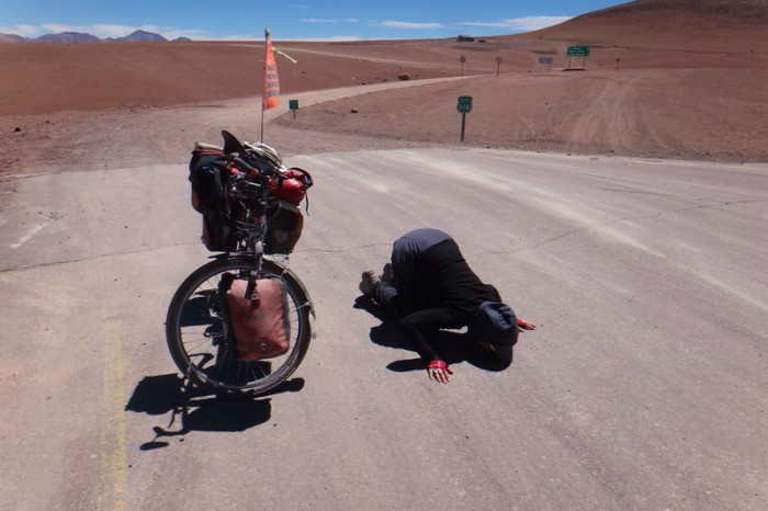 Chile - Day 8 of the Laguna Route: Jo kissed the road, she was so happy to see pavement!