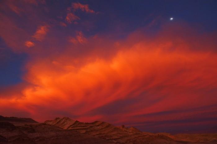 Spectacular sunset, Valle de la Luna, near San Pedro de Atacama