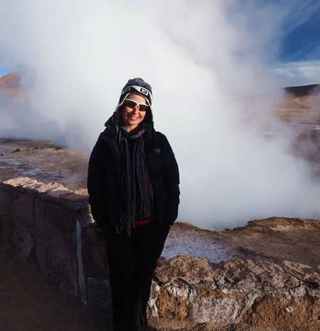 Chile - Jo and one of the geysers