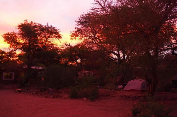 Chile - Sunset at our hostel in San Pedro de Atacama, Aji Verde