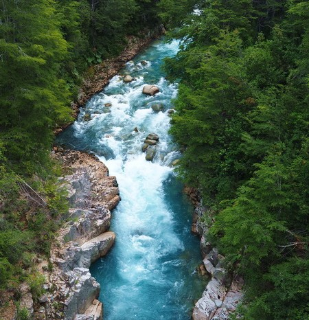 Chile - The fast flowing River Futaleufú - a favourite of white water rafters!
