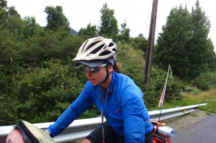 Chile - Jo fighting the head wind on the way to Puyuhuapi