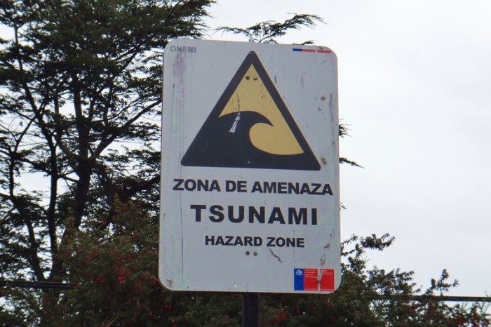 Chile - Tsunami Zone sign at Puyuhuapi