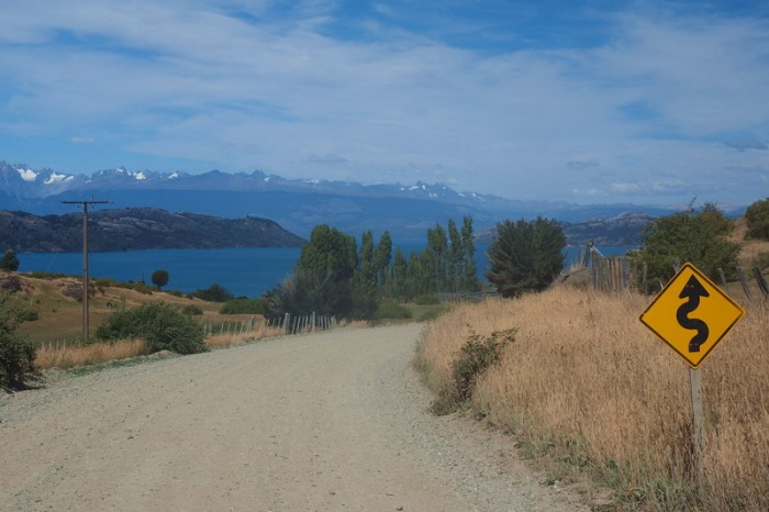 Chile - Cycling beside Lake General Carrera