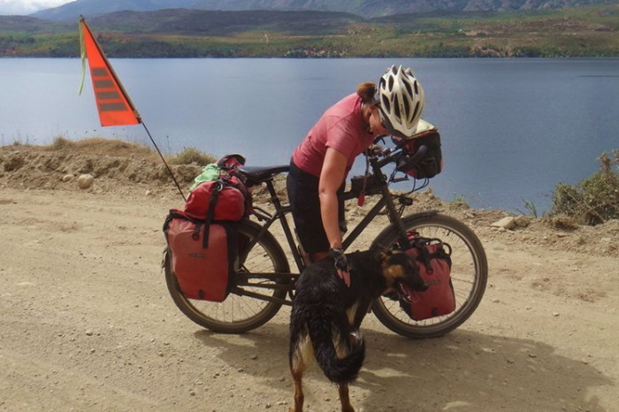 Chile - Jo and the trail dog