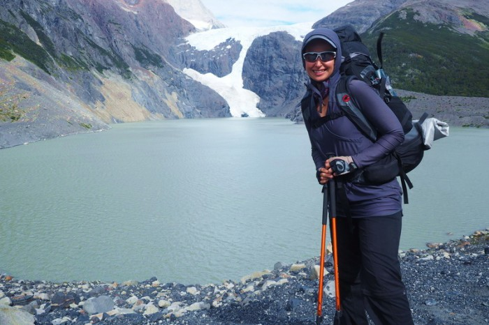 Chile - Day 6: Hiking the Q Loop - Torres del Paine - Jo and the Glacier before Los Perros Camp