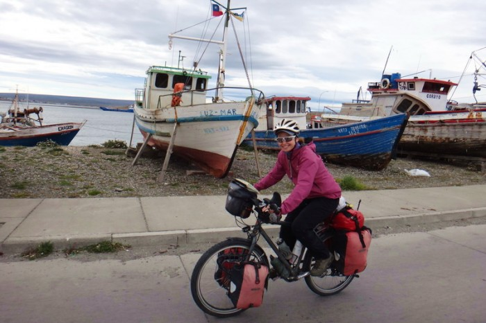 Chile - Jo cycling into Porvenir