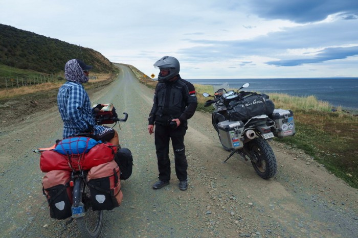 Chile - We stopped for a chat with this nice motor biker on our way to the border and San Sebastian