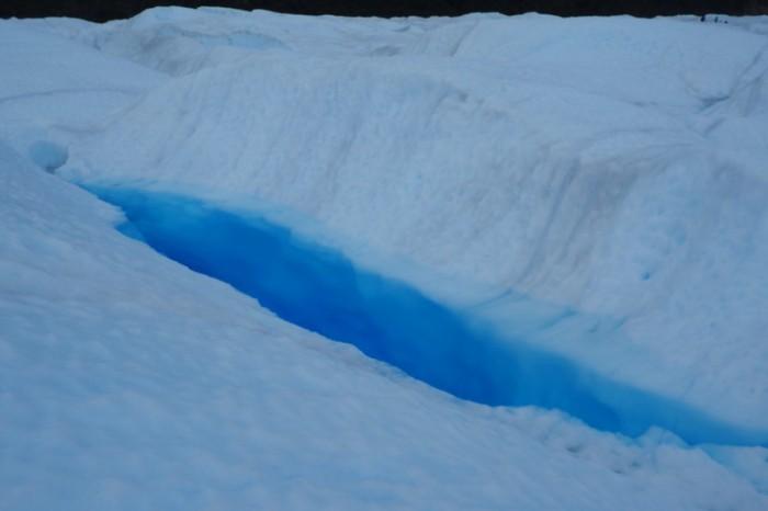 Argentina - Water filled glacial crevasse, Perito Moreno Glacier