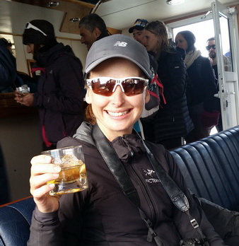 Argentina - Jo enjoying a whisky with glacier ice after the trek