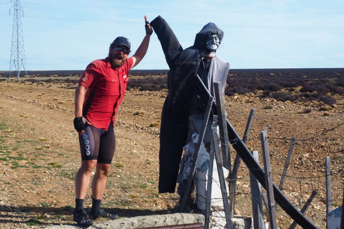 Argentina - We made a right turn to continue to follow Ruta 40. This creepy scarecrow of sorts marked the spot!